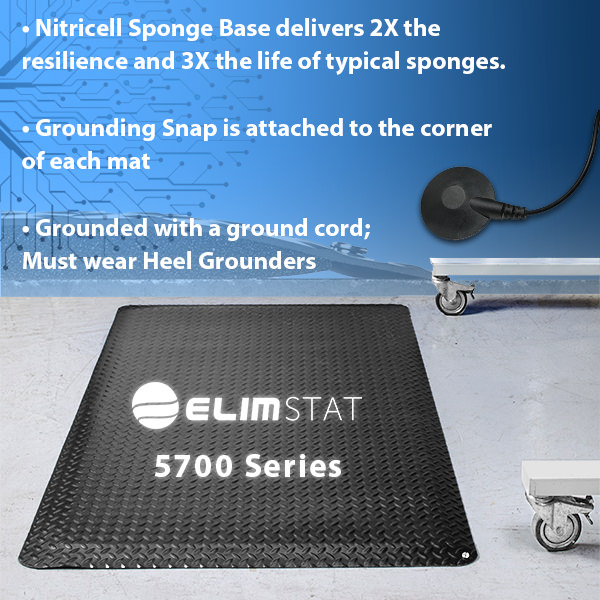 Anti Static Floor Mats are diamond-plated and havea nitricell sponge base. Connect to a 4720 Series Mat Ground to electrically bond the mat.